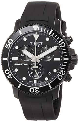 Tissot — Relógio masculino Seastar 660/1000 de aço inoxidável quartzo suíço, preto, 22 relógios casuais (modelo: T1204173705102)