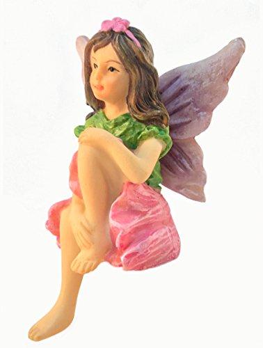 GlitZGlam Emma, el Hada sentada de jardín - Una Estatua de Hada en Miniatura para tu jardín de Hadas de Exterior o Interior