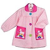 Klottz - Grembiule a quadretti per bambini con unicorno su arcobaleno Per la scuola e i lavori manuali. Rosa X-Small