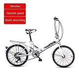 Chang Xiang Ya Shop 20 Pouces Vitesse vélo vélo vélo Pliable Route Adulte-Absorption de Choc vélo for Enfants Mini Scooter Portable Variable de (Color : Blanc, Size : 20 inches)