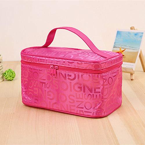 Sac cosmétique de mode femme fête voyage sac à main fille toilette sac de rangement solide grande capacité-rouge