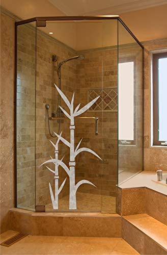 rs-interhandel® Sichtschutz Aufkleber Folie Glasdekorfolie Bad Dusche Duschwand Badezimmer Glasdekor GD113 Ornament Bambus