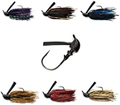 No.5 Bass Jigs for Bass Fishing Pack Bulk Set Kit Flipping Jigs Weedless Jigs Swim Jigs Pitching Jigs Football Jigs Fishing Craw Jig Trailers (#14 Bass Jigs 1/4oz 3/0 at Six Popular Colors)