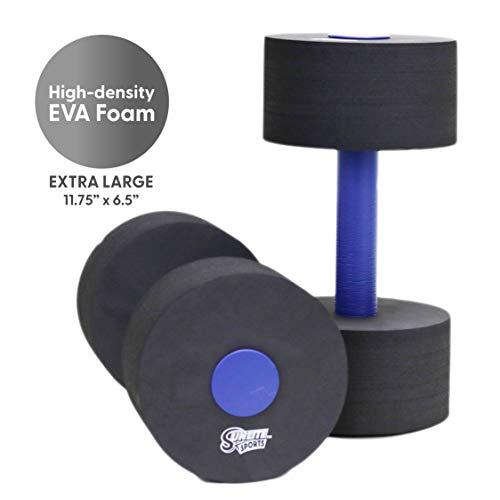 Sunlite Sports High-Density EVA-Foam Dumbbell Set, Water Weight, Soft Padded, Water Aerobics, Aqua Therapy, Pool Fitness, Water Exercise - Advanced Size (Black, X-Large)