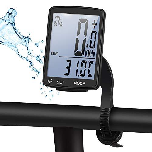 Fahrradcomputer Kabellos Wasserdicht, Fahrradtachometer mit Hintergrundbeleuchtung, Auto Aufwecken Fahrradtacho Kabellos, LCD Fahrrad Computers Drahtlos, Radcomputer für Kinder und Erwachsene-Weiß