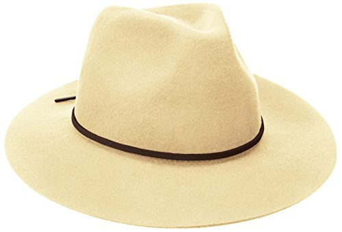 Brixton Men's Wesley Medium Brim Felt Fedora Hat, Bone, Large