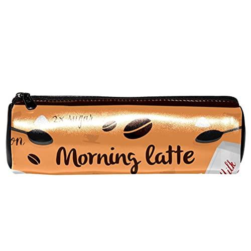Trousse vintage en cuir avec motif cuillère à café latte - Pour stylos, crayons, pièces de monnaie, maquillage, trousse pour étudiant, papeterie, école, bureau, rangement