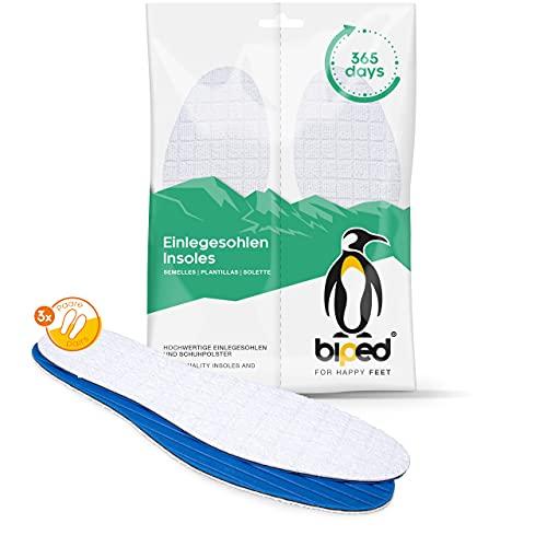 biped 3 pares de plantillas para ir sin calcetines - de suave rizo de algodón con fibra de bambú y carbón activo - antibacterianas, para un frescor higiénico en el calzado z2770 (41)