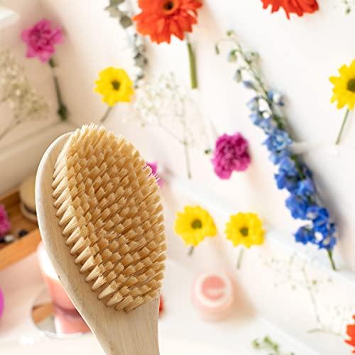 EcoTools Soft Bristle Bath Brush, Long Handle Shower Brush, Gentle Exfoliating for Back and Body