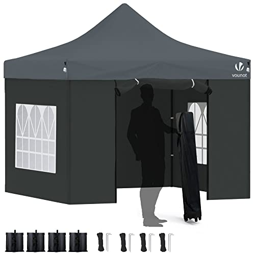 VOUNOT 3x3m Heavy Duty Gazebo with 4 Sides, Pop up Gazebo Fully Waterproof Party Tent with Roller Bag and Leg Weights, Grey