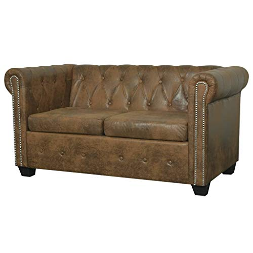 vidaXL Chesterfield Sofa 2-Seater Home Living Room Sofa Loveseat Chaise Longue Faux Leather Brown