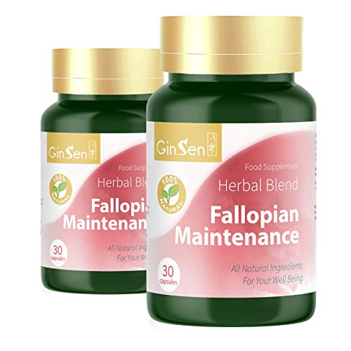 GinSen Fallopian Maintenance Supports Fallopian Health, Decrease Inflammation, Pre IVF Preparation, Natural Conceive, Remove Blockage, Natural Supplement Chinese Medicine, Made in UK (30 Caps x2)