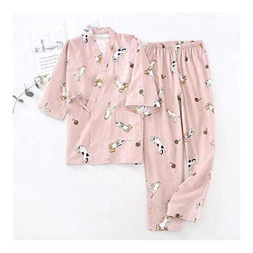 Conjunto de pijama para mujer de primavera y otoño, bonito estampado para mujer, de gasa, de algodón, suave, fino, para el hogar (color: rosa, talla: M)