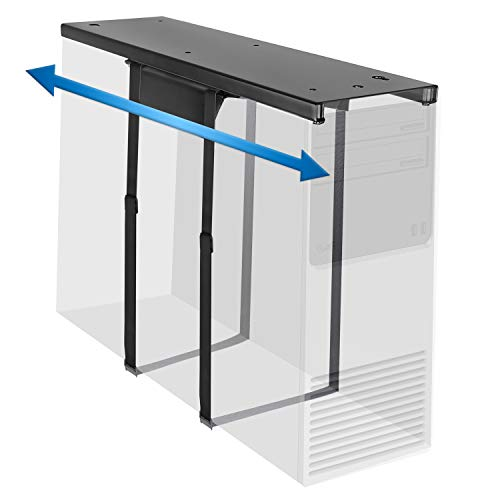 Mount-It! Under Desk CPU Mount with Adjustable Straps, Computer Tower Holder with Sliding Track and 360 Degree Swivel, 22 Lb Capacity, Black