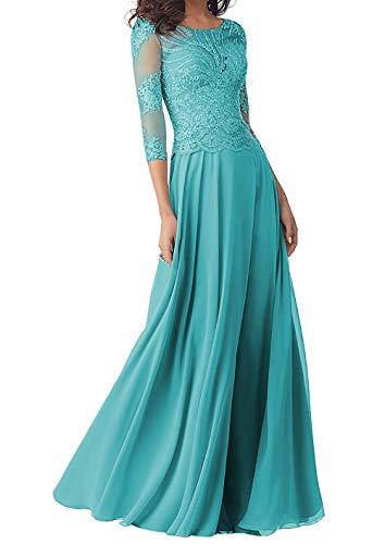 Abendkleider Lang Brautmutterkleider Langarm Spitze Hochzeitskleid Ballkleider A-Linie Chiffon Festkleider Jade 32