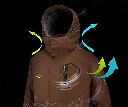 Wantdo Men's Waterproof Mountain Jacket Fleece Windproof Ski Jacket US XL Coffee XL