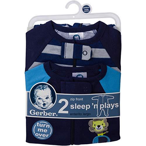 Gerber Baby Boys' 2 Pack Zip Front Sleep 'n Play, Safari, 0-3 Months
