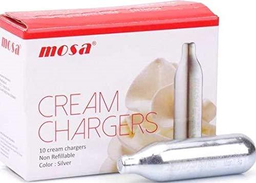 Mosa 50 Cartouches Gaz pour Creme Chantilly N20 . 8g pour siphon culinaire
