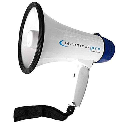 Technical Pro Megaphone MPH15 Speaker PA with Up to 800 Yard Range for Use at Sports Events Camps Cheer Leading Coaches and Safety Drills - Features Adjustable Volume and Siren -  TPMPH15