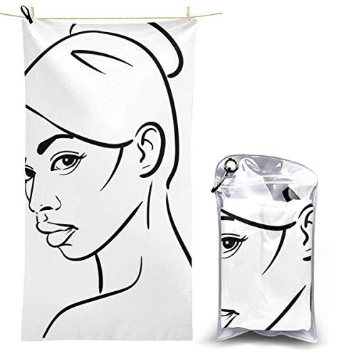 beibao Toallas de baño Mujer Africana Retrato de Rostro Dibujos Animados Negro y Secado rápido Toalla de Camping Toalla de Playa compacta de Alta absorción para Gimnasio Mochilero Senderismo 70x130cm