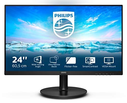 "Philips 241V8L Monitor 24"" LED VA Full HD, 1920 x 1080, Gaming Adaptive Sync, 75 Hz, HDMI, VGA, Attacco VESA, Nero"