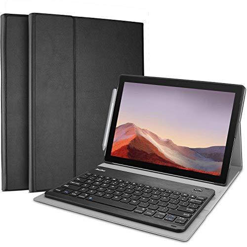 ProCase Clavier Étui QWERTY pour Surface Pro 7 /Pro 6 /Pro 5 /Pro 4, Housse de Protection avec Clavier sans Fil Détachable-Noir