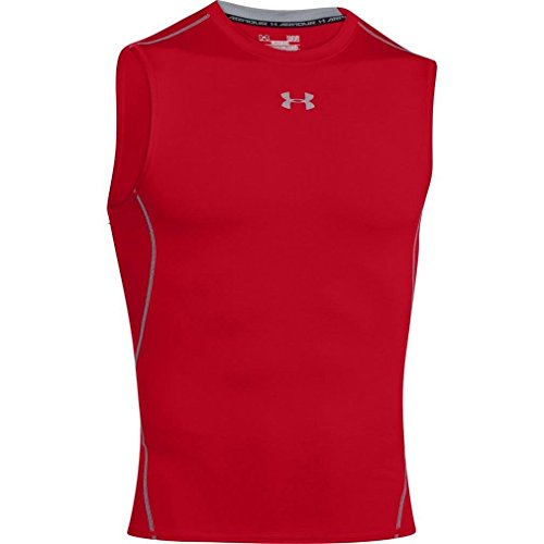 Under Armour Hg T-Shirt de compression sans manches Homme Red/Steel FR : S (Taille Fabricant : SM)