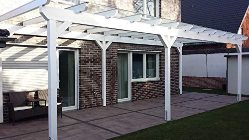 Luxbach GmbH - Cubierta para terraza, 600 x 400 cm / 6 x 4 m, madera de pérgola BSH, planchas alveolares de 16 mm, transparente