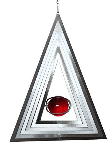 3D en verre véritable Carillon triangulaire en acier inoxydable avec boule Décoration de jardin décoration de jardin