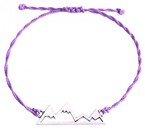 Eueavan, braccialetto in cordino cerato, regolabile, con delizioso ciondolo a forma di montagne innevate, ideale per chi ama le escursioni, l'avventura e i viaggi e Lega, colore: Purple, cod. unknown