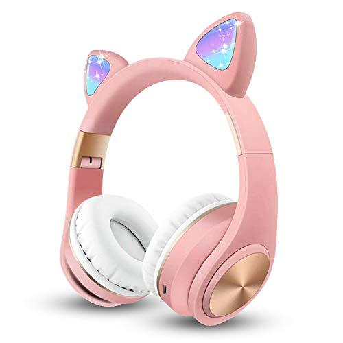 SIWEI Bluetooth-Katzenohr-Kopfhörer, süßes Katzenohr-LED-Headset, kabellos, On-Ear-Headset mit Mikrofon, LED-Licht, kompatibel mit Smartphones, PC, Tablet