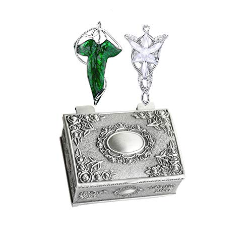 Arwen Evenstar Pendant Silver Plated Necklace Elven Green Leaf Brooch Pin Pendant Necklace with Jewelry Box