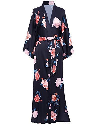 Coucoland Kimono largo para mujer, bata de satén floral, kimono largo, estilo chino japonés, para ropa de noche, fiesta, boda, pijama, fiesta