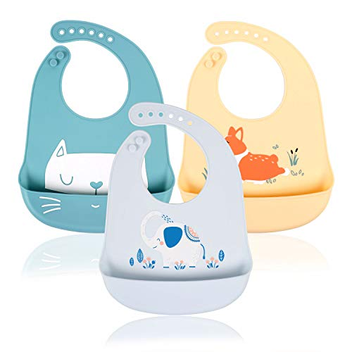 Baberos Impermeables de Silicona para Bebé, Babero Flexible y Suave, Babero Grande y Ajustable para Niño/Niña, 3 Piezas(Blanca/Azul/Amarillo)