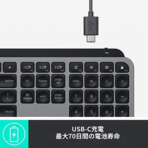 ロジクールアドバンスドワイヤレスイルミネイテッドキーボードKX800MMXKEYSforMac充電式US配列bluetoothUnifyingiPad無線ワイヤレスキーボード薄型KX800スペースグレー国内正規品2年間無償保証