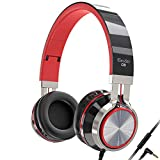 Elecder i39 Headphones with Microphone Foldable Lightweight Adjustable On Ear Headsets with 3.5mm Jack for Cellphones Computer MP3/4 Kindle School Red/Black