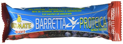 Barretta Proteica – Barretta 33% Di Proteine - Con Vitamine, Minerali, Aminoacidi – Ideale Nella Dieta Per Il Potere Saziante E Per Appagare La Voglia Di Dolce - Gusto Frutti Rossi - Ultimate Italia