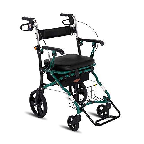 Verlassen Sie Sich auf Lauflernwagen für Senioren Rollator Einkaufswagen, vierrädriger Rollator, tragbar zusammenklappbar, mit Sitz, mit Fußstütze (Color : Green) (Color : Green),AA