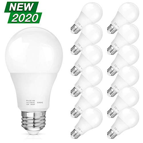 A19 LED Light Bulbs, 100-125W Equivalent LED Bulbs, 1500 Lumens, 4000K Daylight White Edison Bulbs, E26 Medium Screw Base, No Flicker, CRI 80+, 25000+ Hours Lifespan, Non Dimmable, 12-Pack