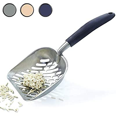 VIVAGLORY Large Metal Litter Scoop, Cat Litter Sifter with Deep Shovel and Ergonomic Long Handle, Navy Blue from Vivaglory
