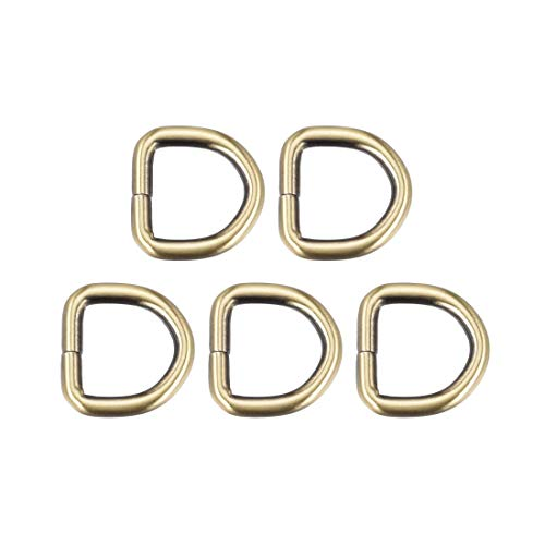 DyniLao 5pcs Metal D-Ring 0.8'(20mm) D-Rings Hardware Buckle Bags Belts DIY Crafts Accessories Bronze Tone