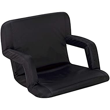 Naomi Home Venice Portable Reclining Seat with Armrest, Black, Standard