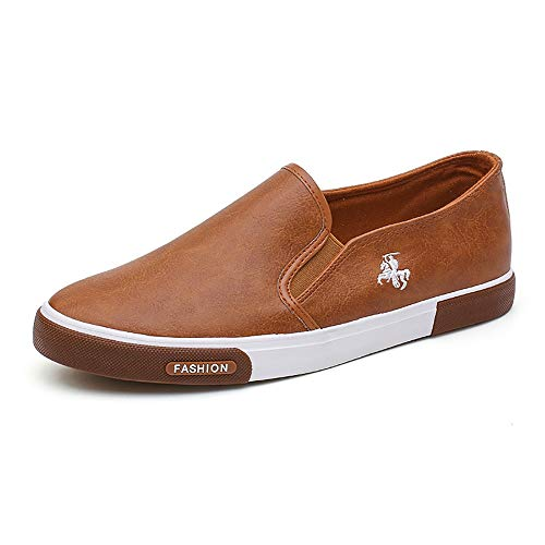 TTCXDP Allround-schoenen voor heren, schoen van PU-leer, eenkleurig, plat, licht, ademend en draagbaar voor het rijden op het werk, kaki, 44