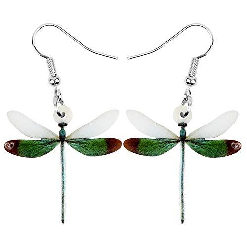 N\A Pendientes De Libélula Verde Acrílico Estampado Ligero Insecto Animal Colgante Niñas Niñas Verde