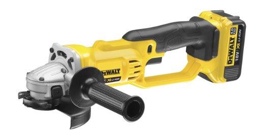 DeWalt DCG412M2 Accu-haakse slijper, 18 V, 4,0 Ah, 125 mm schijf-ø, voor alle standaard slijpen, slijp- en slijpwerkzaamheden, incl. 2 x XR-accu's, snellader, beschermkap, sleutels en transportkoffer