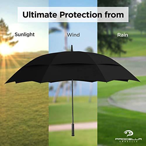 Procella Golf Regenschirm, 157 cm groß, sturmsicher, automatisch zu öffnen, Regen- und Windresistent Golfschirme(Black) - 8