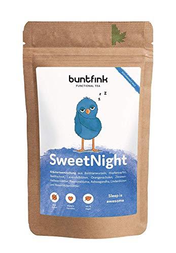 """Buntfink """"SweetNight"""" Abend-Tee mit Baldrian + Hopfen + Reishi + Ashwagandha, 100{a5b192dd7c22c5c645b7b6484b333bfc5c0d737e9237e1eab1dccdbf4de44dba} natürlicher Kräutertee aus Deutschland, 60g loser Tee"""