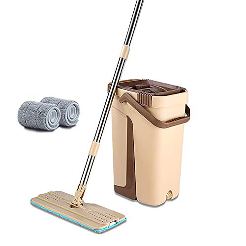 Fantastic Deal! XYSQWZ Flat Squeeze Mop Bucket Hand Free Wringing Steel Mop Non Hand Washing Mop 2 i...