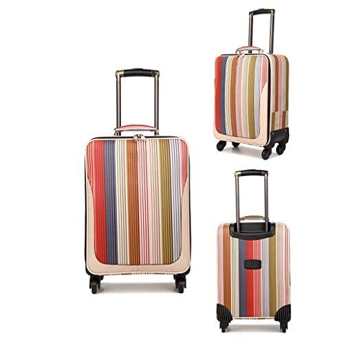 Cooralledtooere Elegante Color de Rayas Verticales, Maleta, Maleta, Funda con Ruedas, Viajes de Negocios, Unisex (Size : 20 Inch)