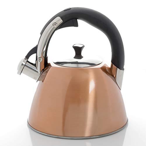 Gibson Mr Coffee Belgrove 2.5 Qt Stainless Steel Whistling Tea Square Kettle, Metallic Copper, 2. 5-Quarts, DAA